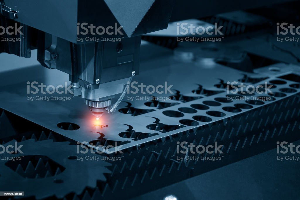 The CNC laser cut machine stock photo