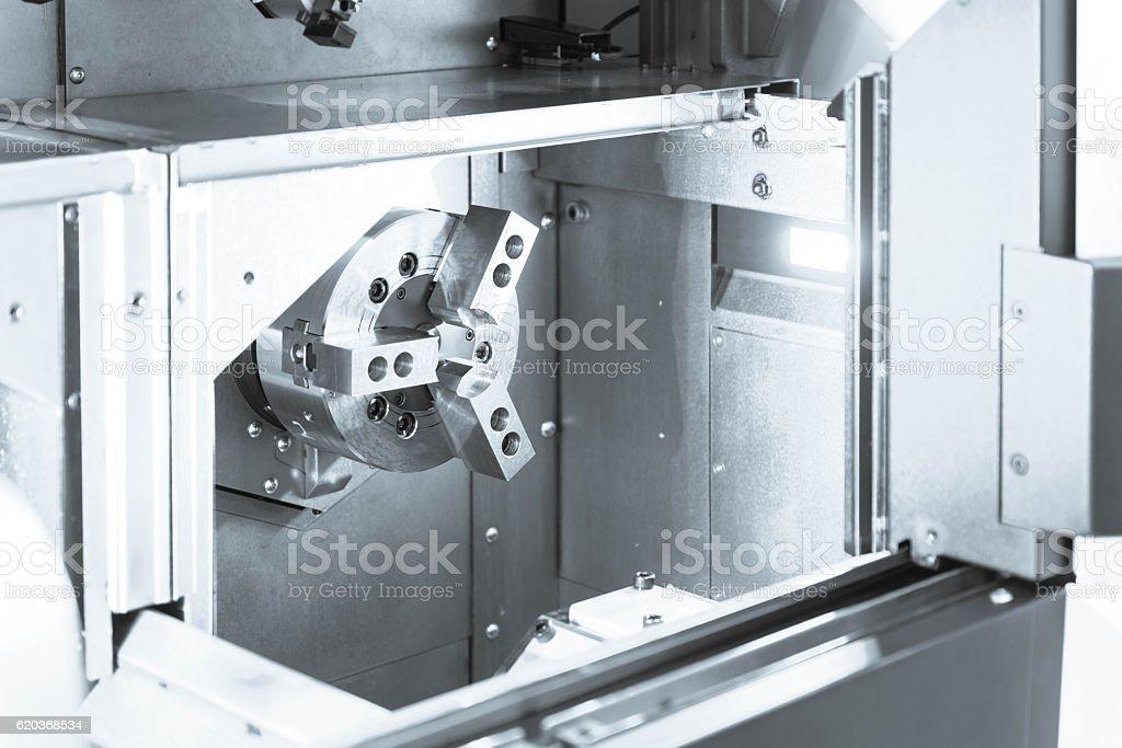 The CNC lath machine,close up to the head stock zbiór zdjęć royalty-free