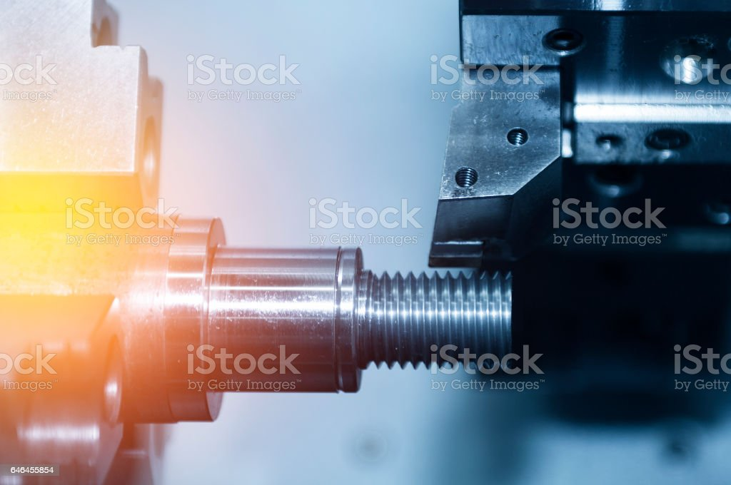 The CNC lath or CNC Turning machine stock photo