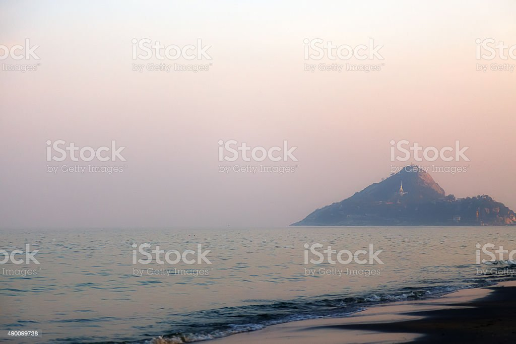 The coast in Thailand in the morning in the fog stock photo