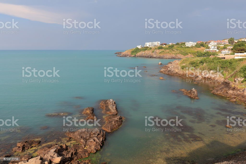 The Coast line of Black Sea near town of Sozopol, Bulgaria after a storm stock photo