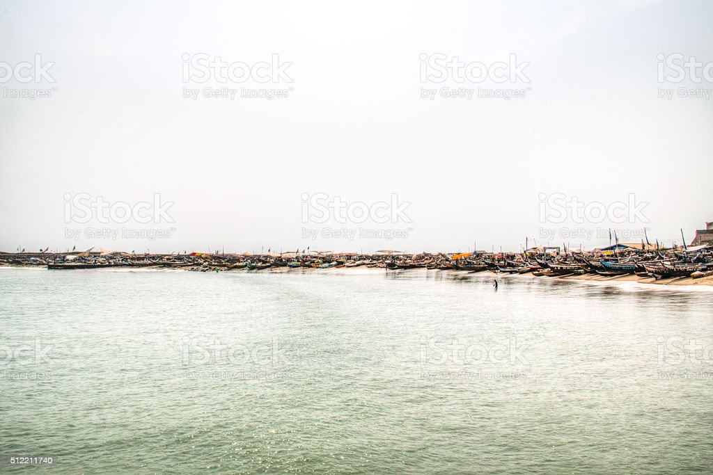 The coast line of Jamestown, Accra, Ghana stock photo