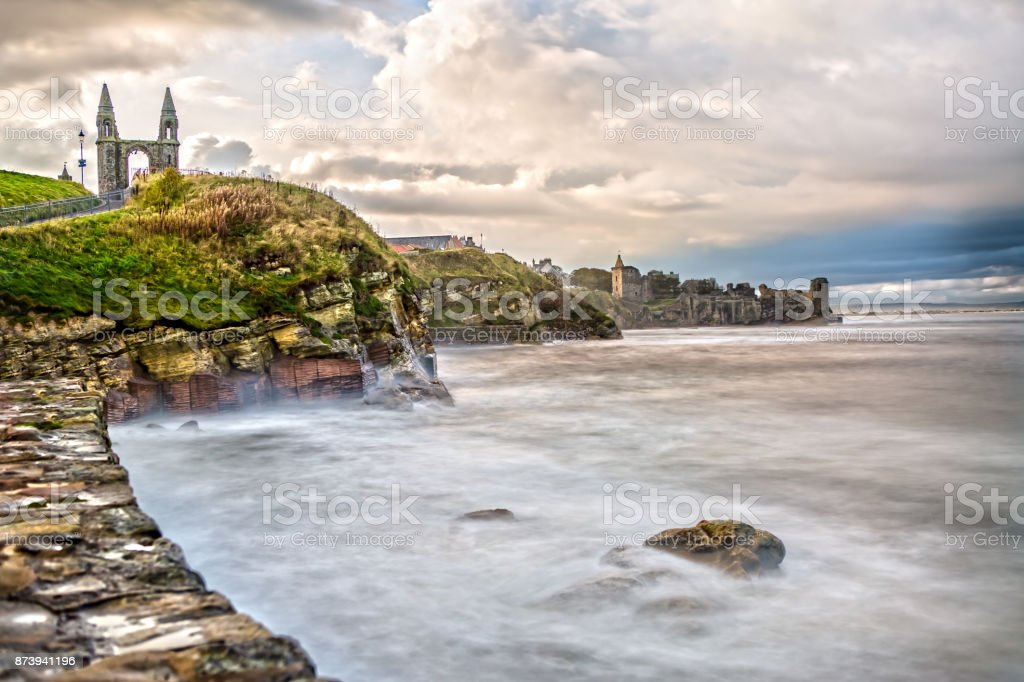 The Coast Line of St. Andrews in Scotland stock photo