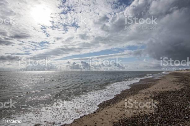 Photo of The coast of East Anglia Norfolk UK. Coastal view.