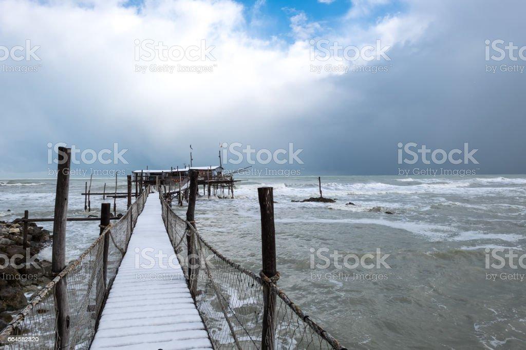 The coast of the Trabocchi royalty-free stock photo