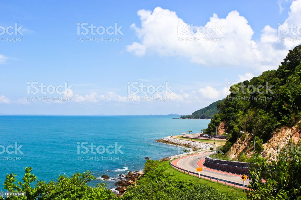 The Coast Road with Sea and Sky, Chalerm Burapha Chonlathit Highway,...