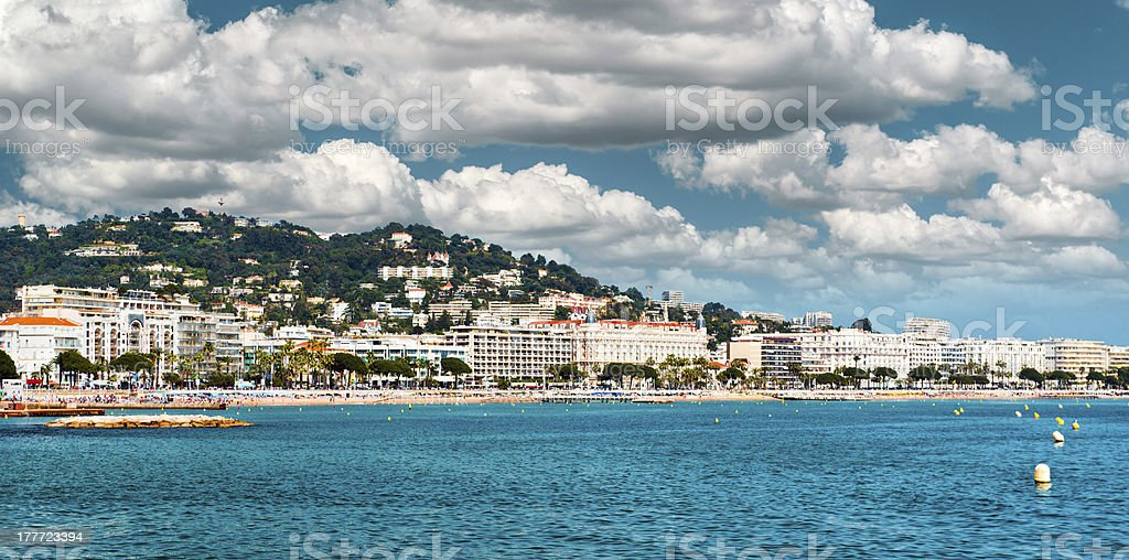 The coastal view of Cannes in France stock photo