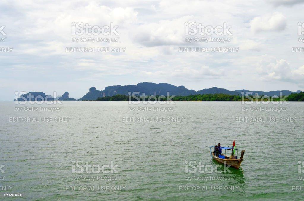 The coastline around Klong Jilad Pier in Krabi stock photo