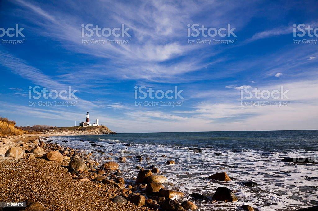 The coastline at Montauk point in Long Island stock photo