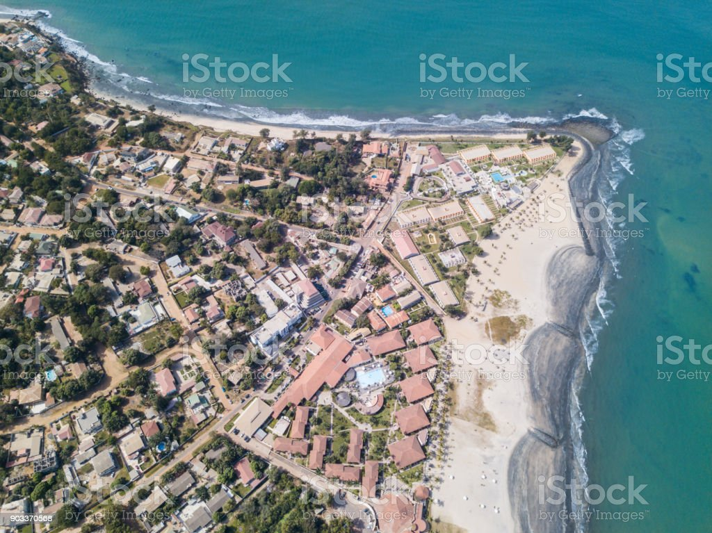 The coastline of Gambia from the air stock photo