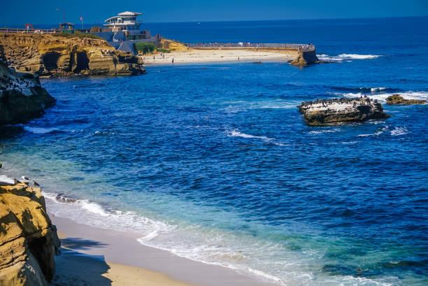 The Coastline of La Jolla Beach near San Diego, California stock photo