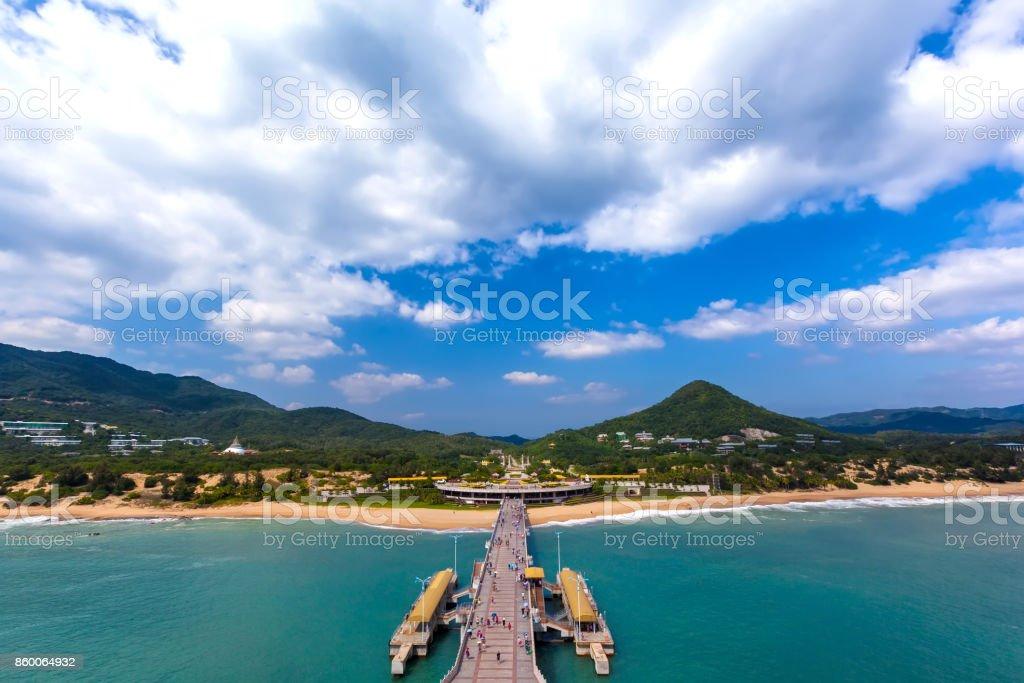 The coastline of Nanshan Buddhist Cultural Park, Sanya, Hainan Island, China. stock photo