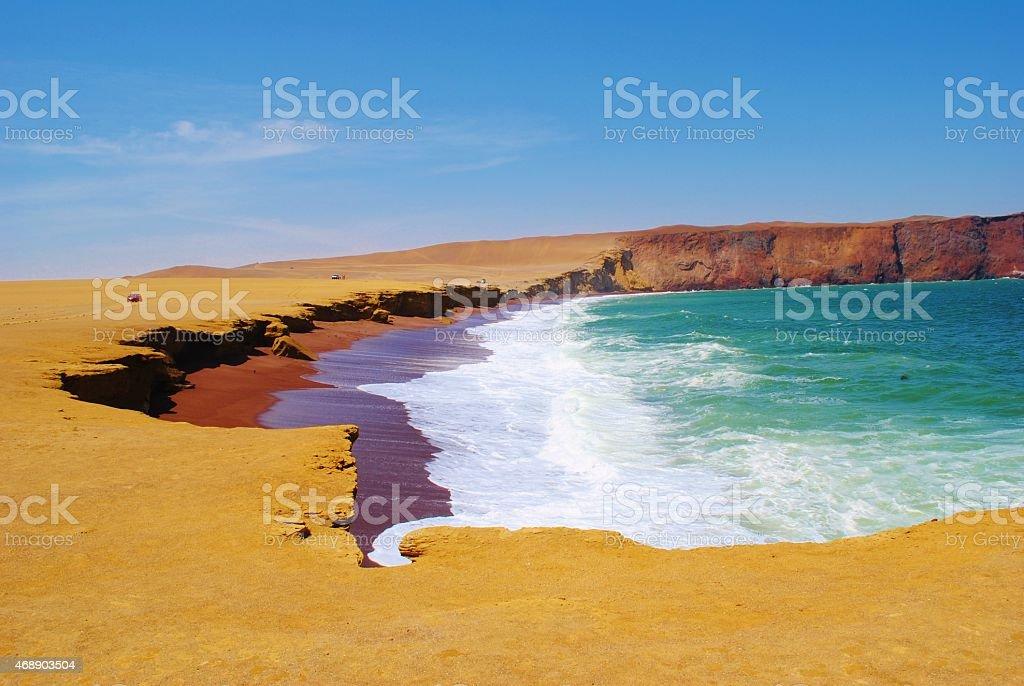 The Coastline of Paracas National Nature Reserve, Peru stock photo