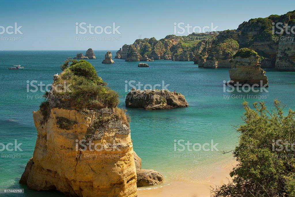 The coastline of the Algarve in Portugal stock photo