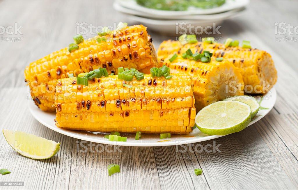 the cob cooked corn stock photo