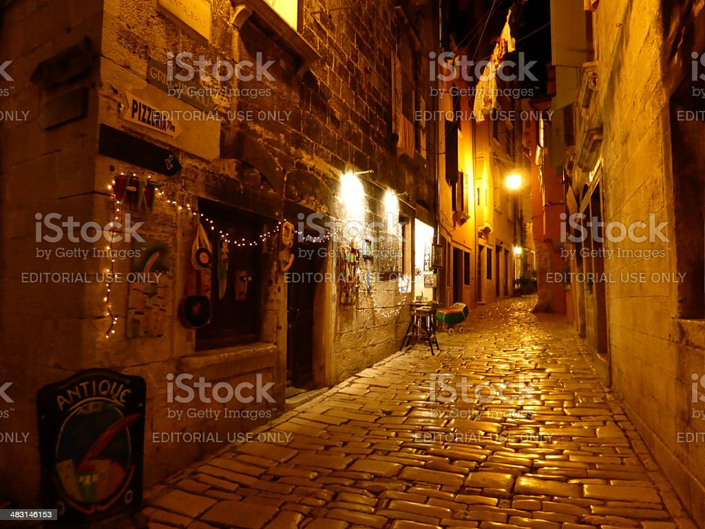 The cobbled streets of Rovinj stock photo