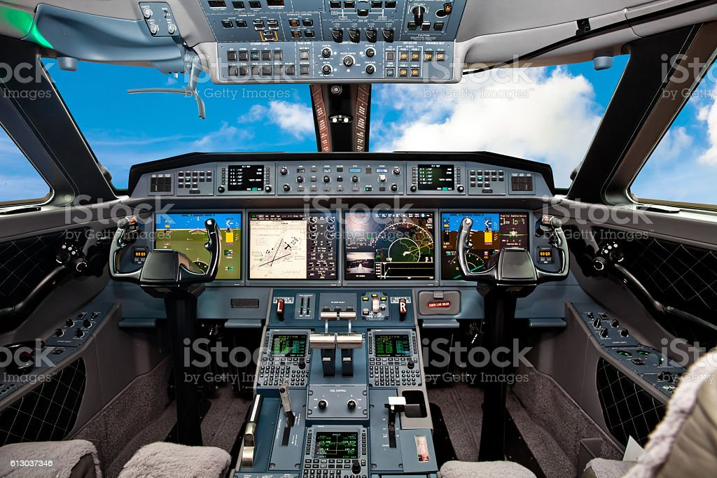 The cockpit of the aircraft stock photo