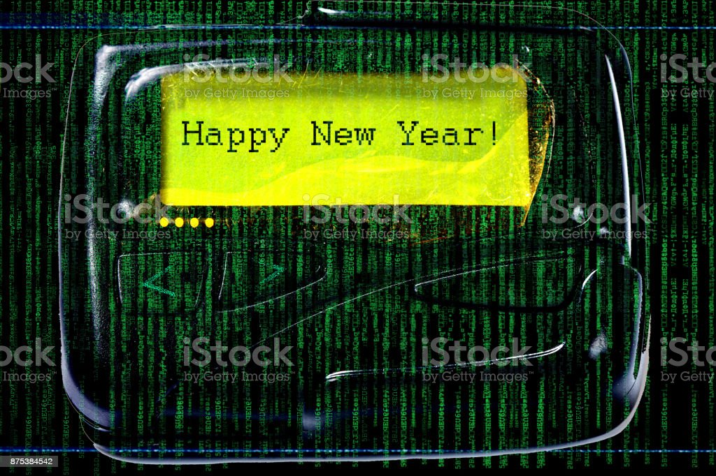 The code matrix and old pager stock photo