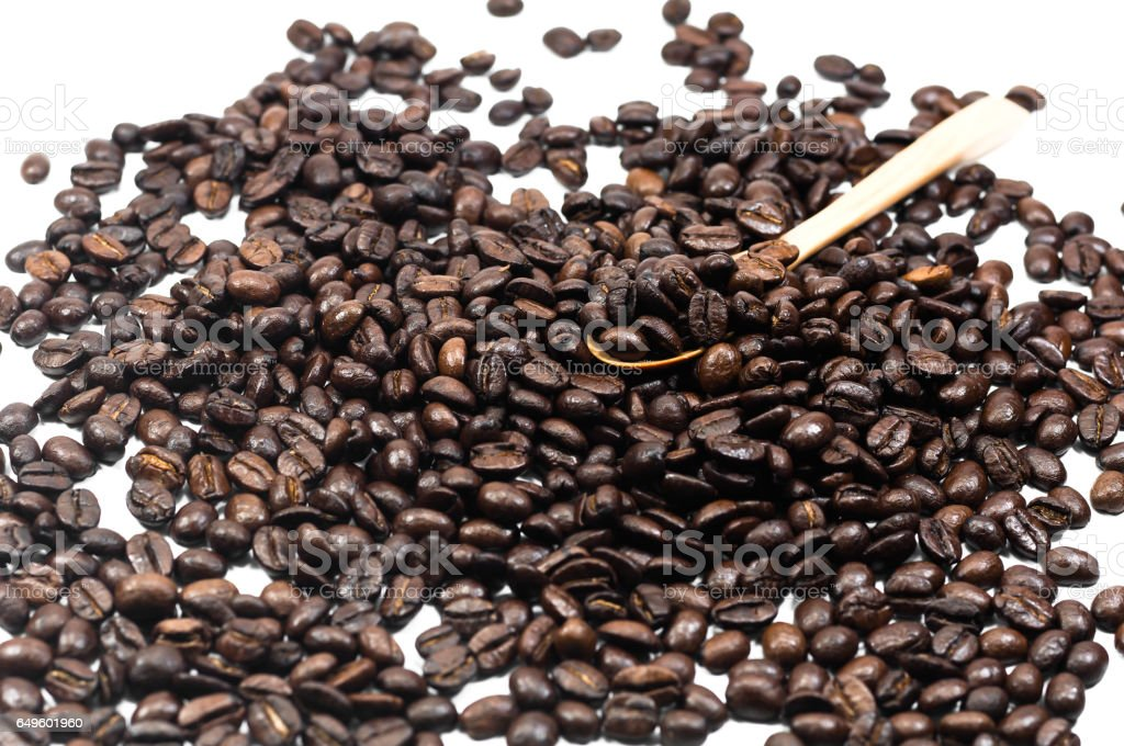the Coffee bean seed in wooden spoon on white background, Coffee, Aroma, Caffeine, Coffee break, Coffee Wallpaper stock photo