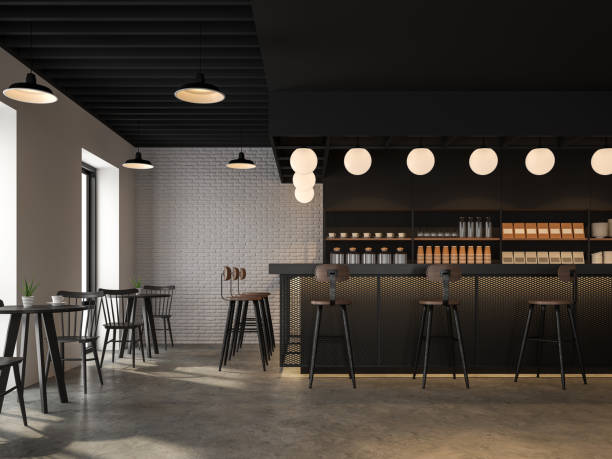 The coffee shop with industrial loft style design 3d render stock photo