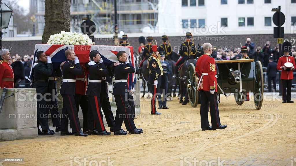 The coffin of Margaret Thatcher being carried at her funeral royalty-free stock photo