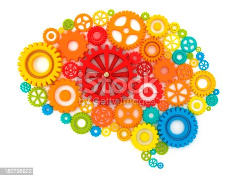 Colorful gears forming a human brain together with one red big central cog. 3D rendering isolated on white. +++Vector version is available here:+++