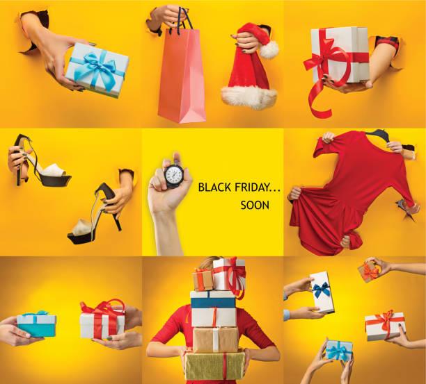 die collage über black friday und verkauf konzept - foto collage geschenk stock-fotos und bilder