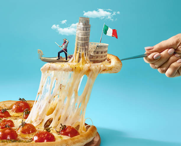 the collage about italy with female hand, gondolier, pizza and and major sights - sud europeo foto e immagini stock