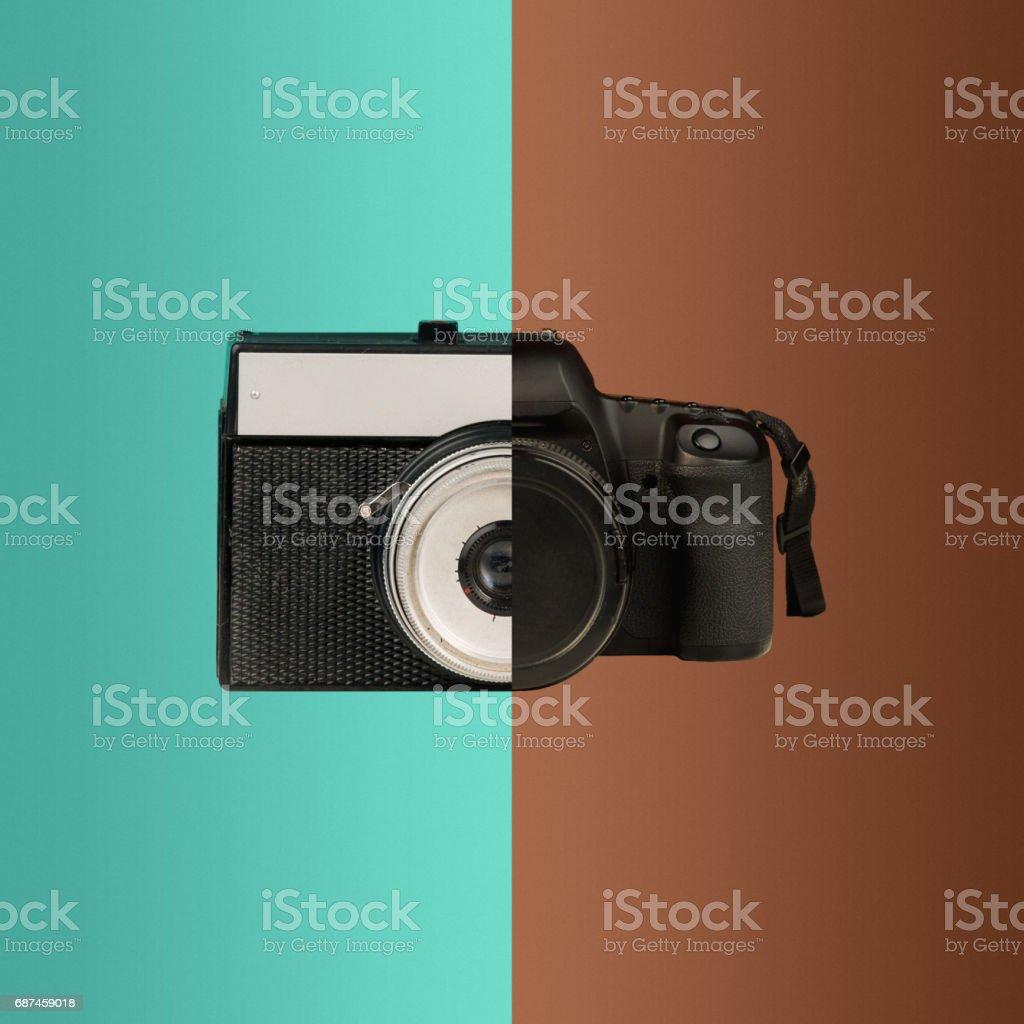 Die Collage aus alten und neuen Kameras – Foto