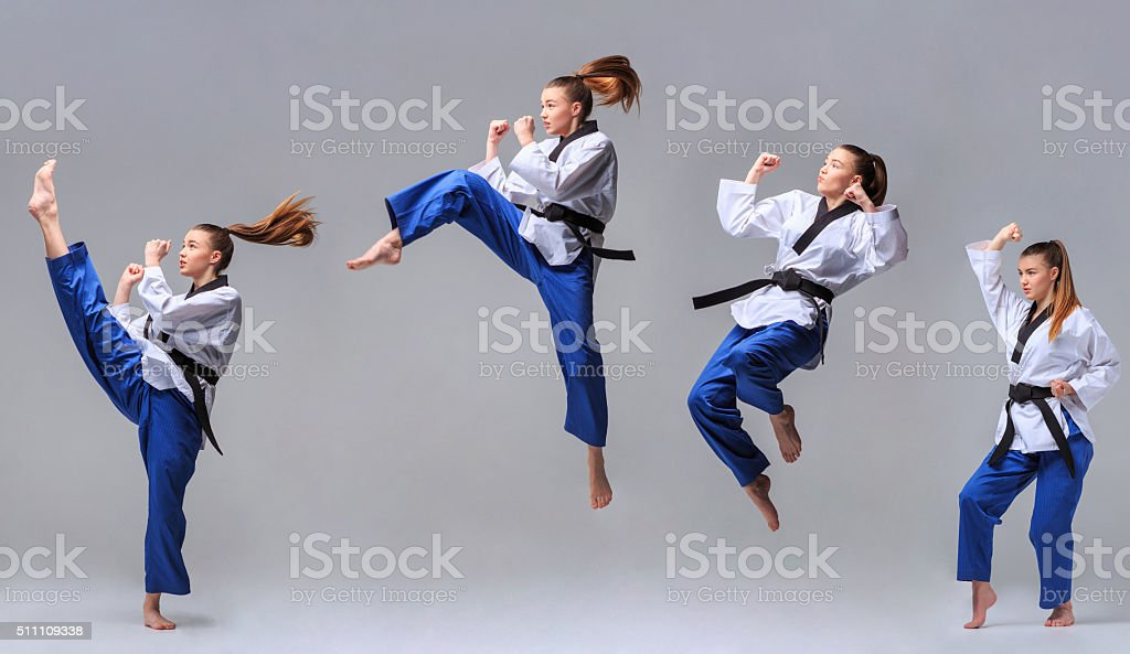The collage of karate girl with black belt stock photo
