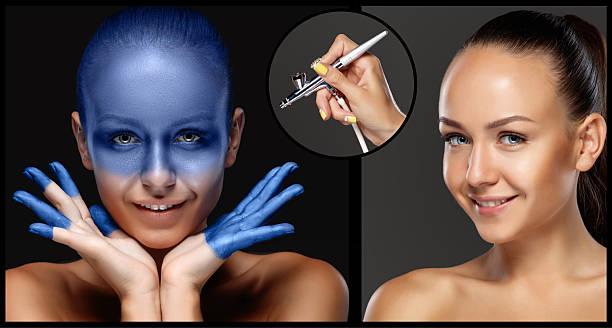 das collage von make-up-modell mit aerograph für - airbrush make up stock-fotos und bilder