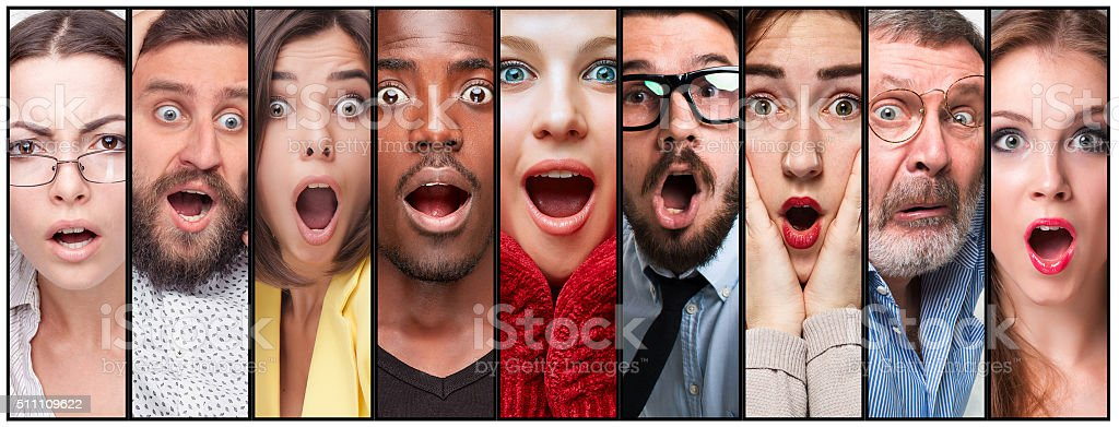 The collage of young man and woman face expressions stock photo