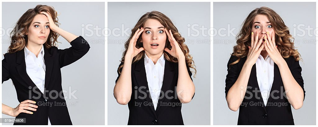 The  collage of young woman's portraites with  different  astonished stock photo