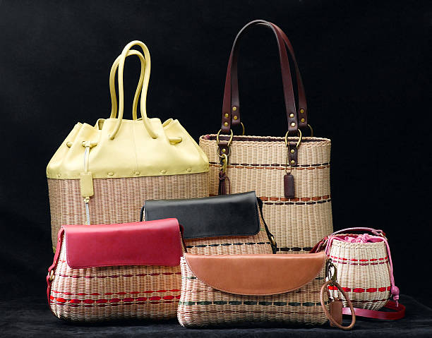 The collection of rattan handbags stock photo