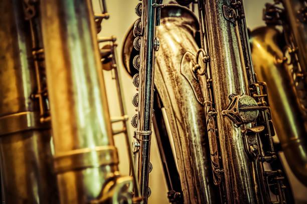 die sammlung - altsaxophon stock-fotos und bilder