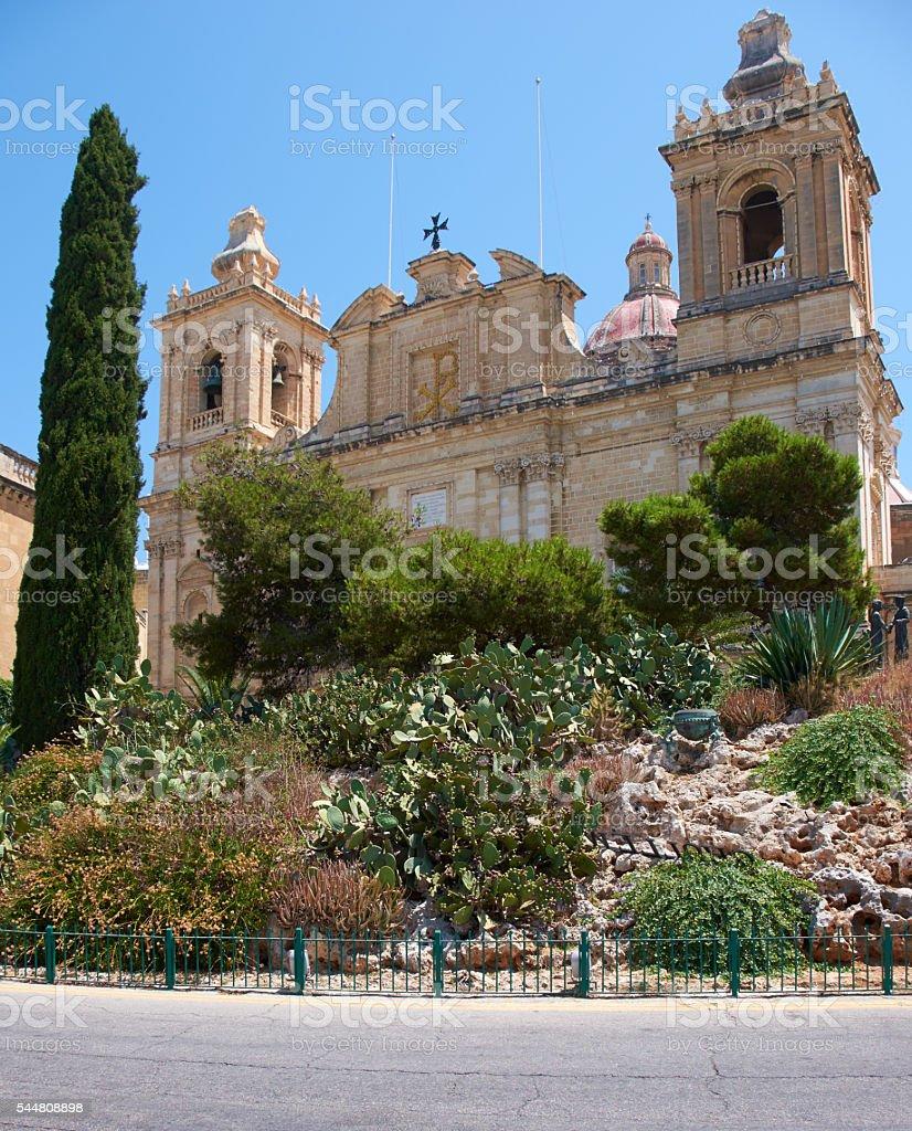 The Collegiate church of St Lawrence in Birgu, Malta stock photo
