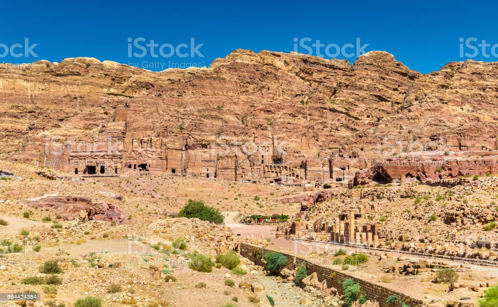 The Colonnaded street and the Royal Tombs at Petra stock photo