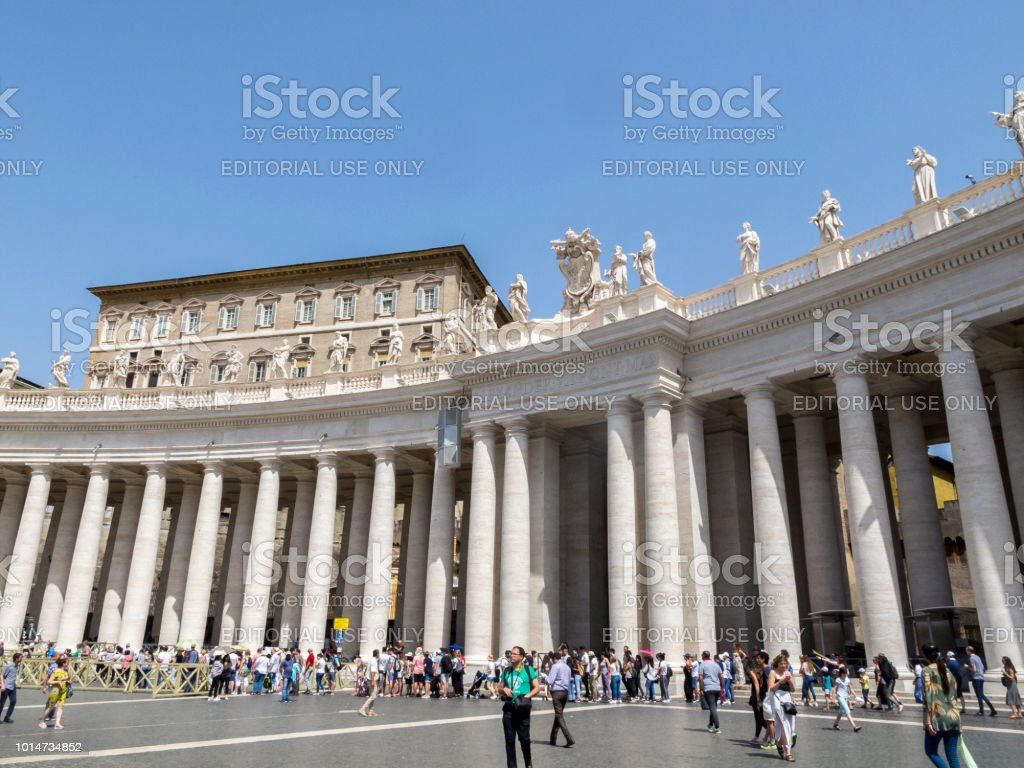Rome Italy July 2 2018 The Colonnades In St Peters Square In The