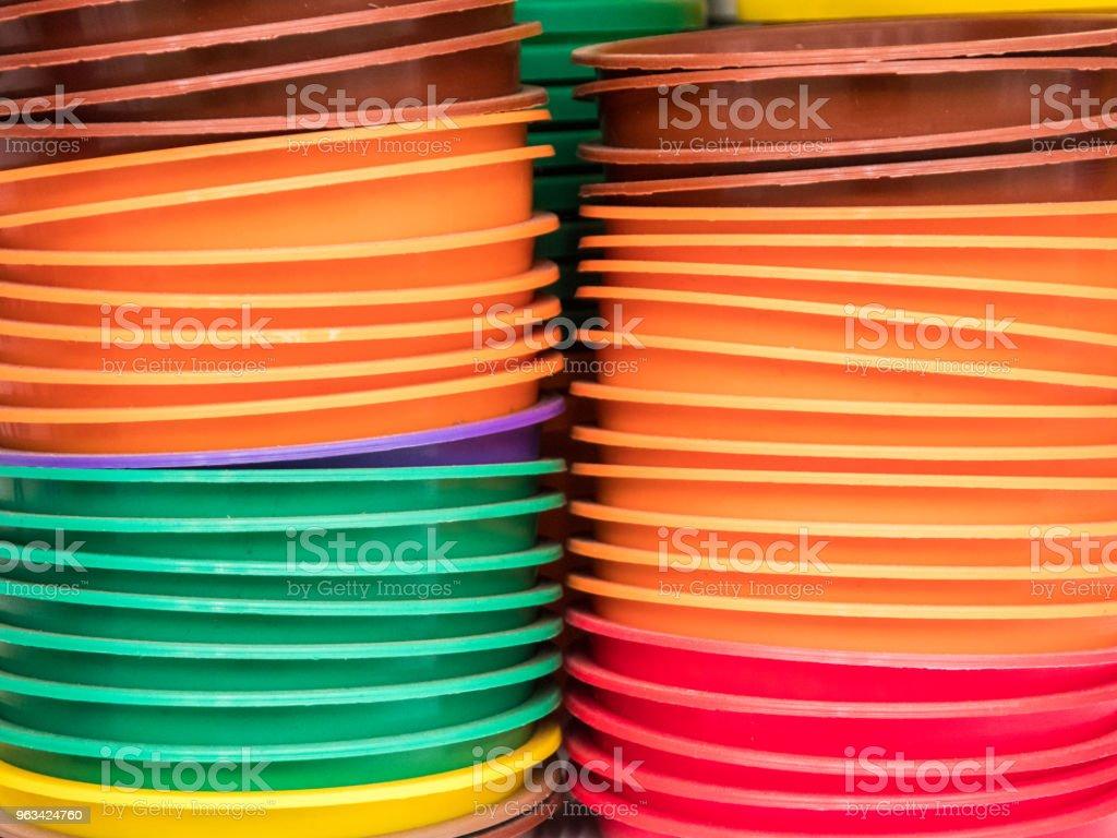 Färgen på plastbricka - Royaltyfri Behållare Bildbanksbilder