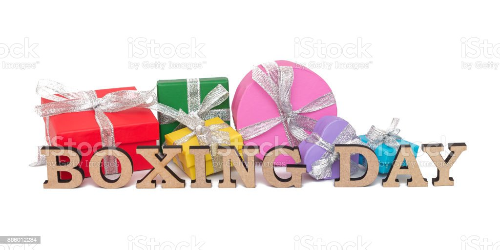 The colored boxes with words BOXING DAY, isolated on white stock photo