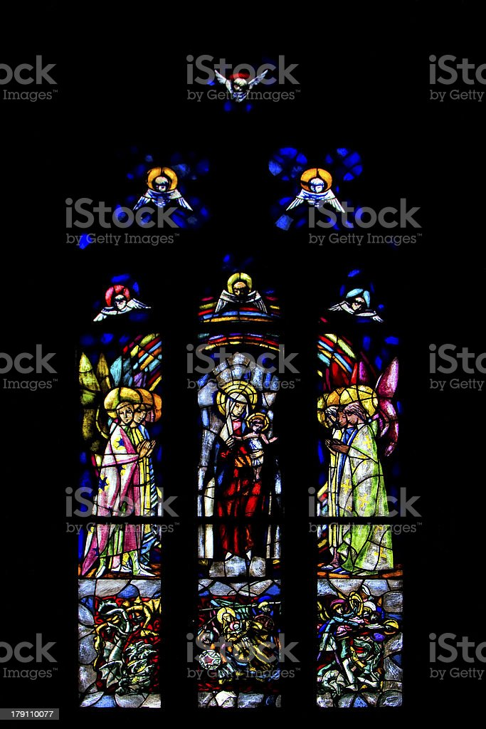 the  colored rose window in  naples royalty-free stock photo
