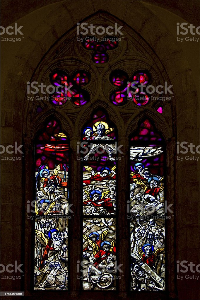 the colored rose window royalty-free stock photo