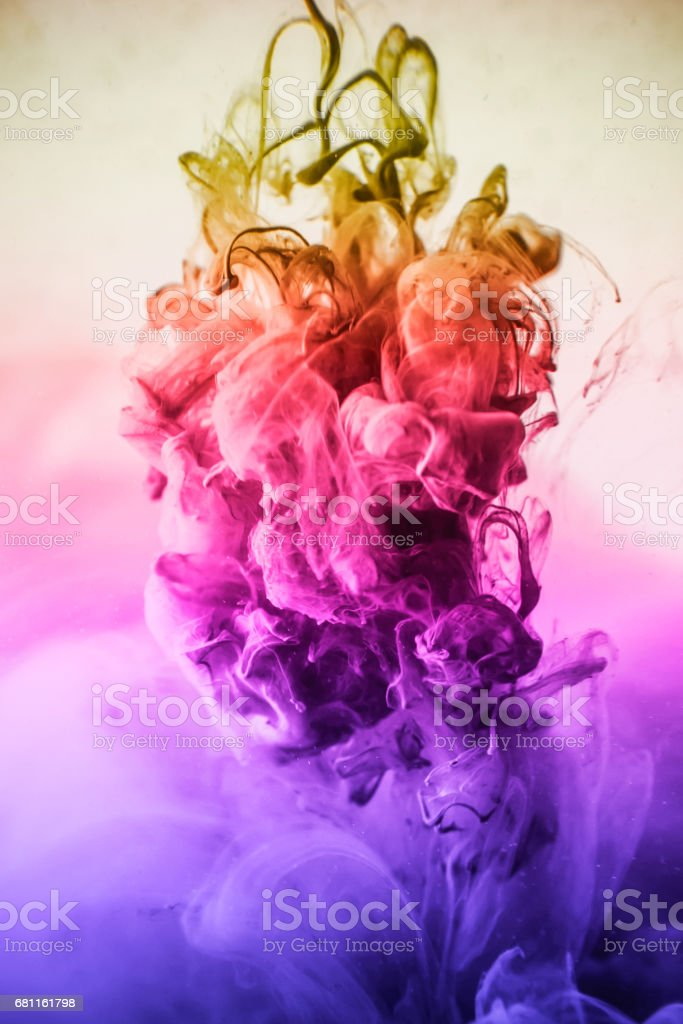 The colorful dye in the water. Abstract. background. Wallpaper....
