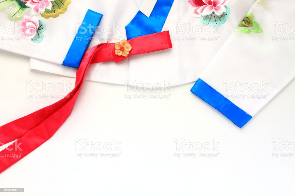The colorful Hanbok, Korean traditional silk dress. stock photo