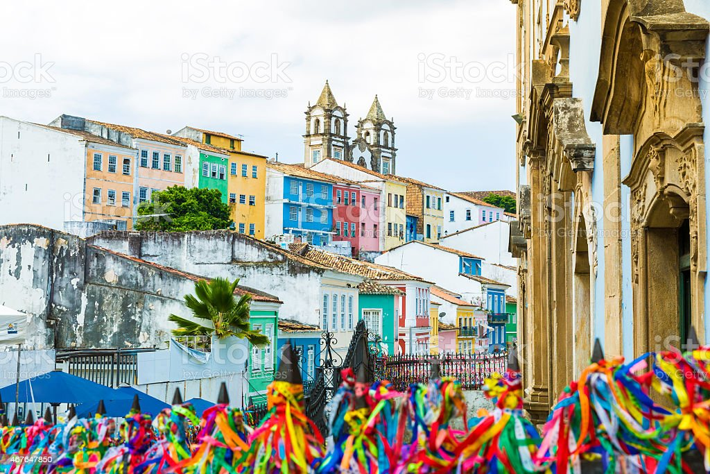 The colorful historic Centre of Salvador, Brazil stock photo