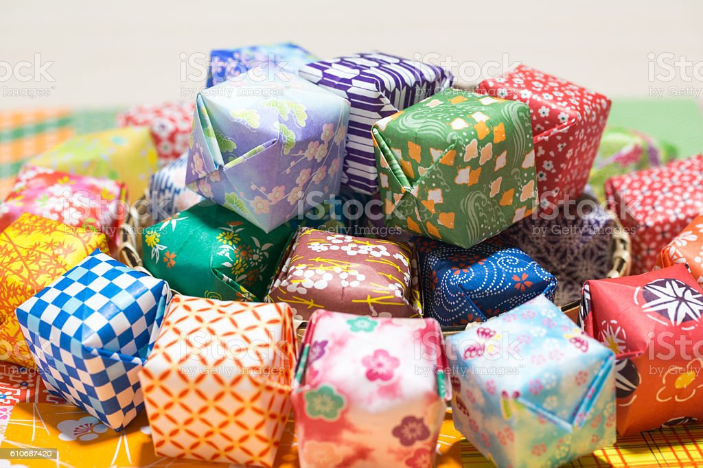 The colorful paper balloon made with Japanese paper. stock photo