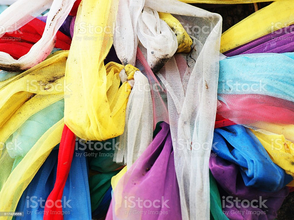 The colorful silk fabric stock photo