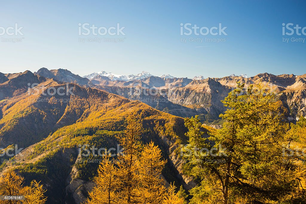 The colors of autumn in the Alps stock photo