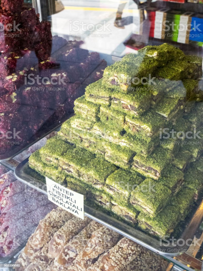 The colors of sweet turkish delight on street markets in old cities of Turkey. royalty-free stock photo