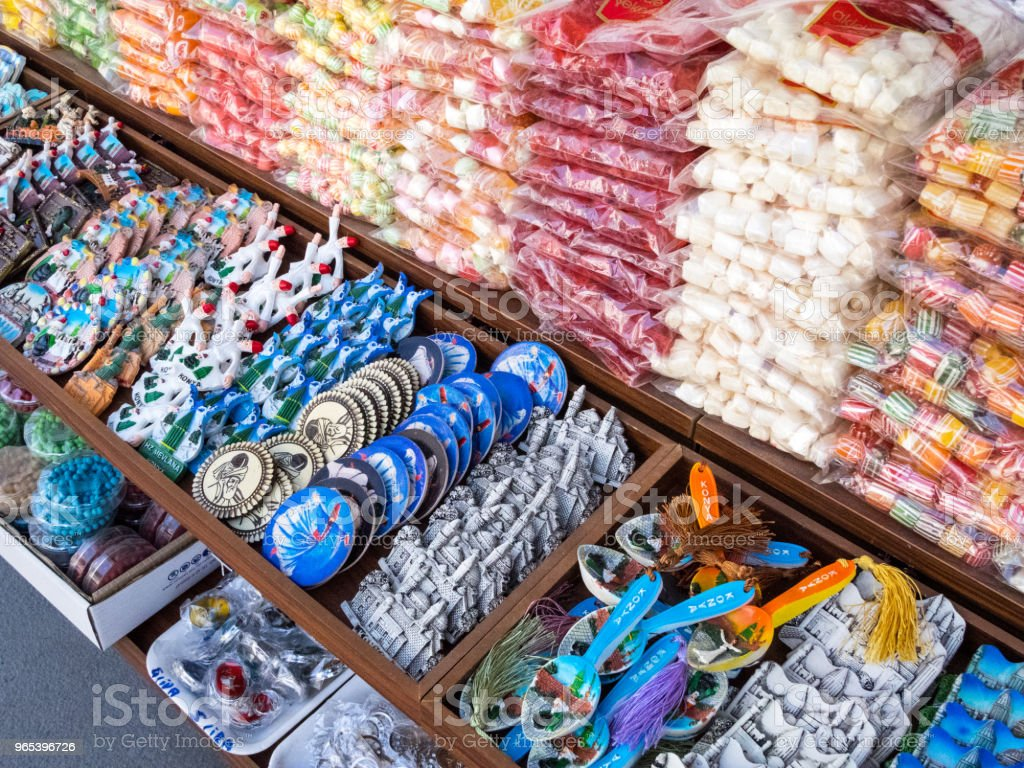 The colors of sweet turkish delight on street markets in old cities of Turkey. zbiór zdjęć royalty-free